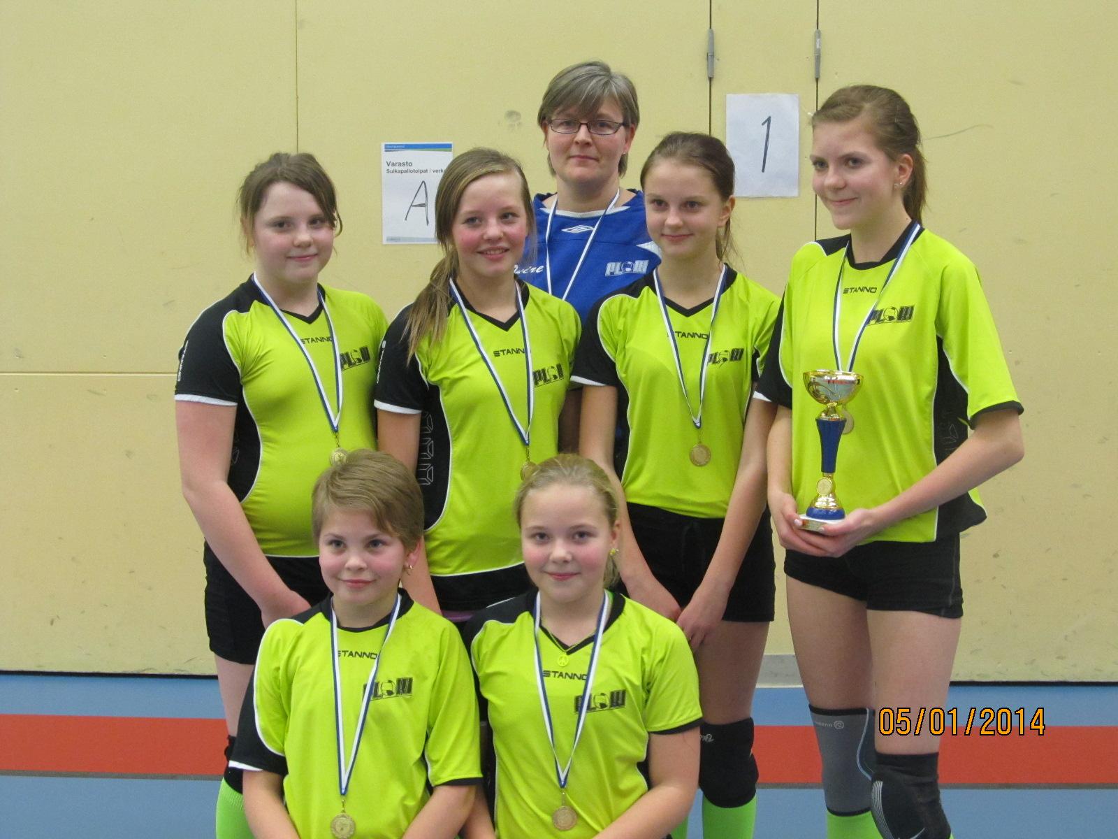 D-tyttöjen kultajoukkue Jyväskylässä 5.1.2014